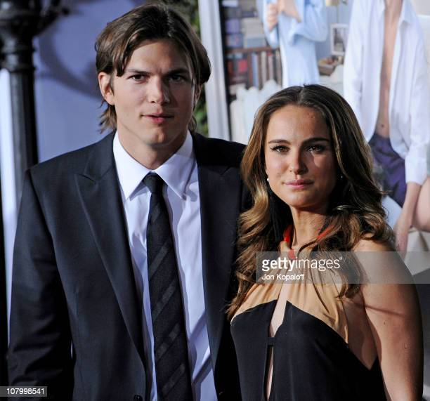 Actor Ashton Kutcher and actress Natalie Portman arrive at the Los Angeles Premiere 'No Strings Attached' at Regency Village Theatre on January 11...
