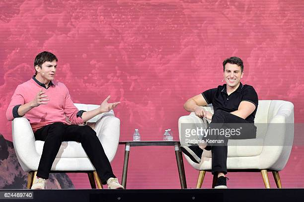 Actor Ashton Kutcher and CoFounder Chief Executive Officer Airbnb Brian Chesky speak onstage during The Game Plan Strategies for Entrepreneurs at The...