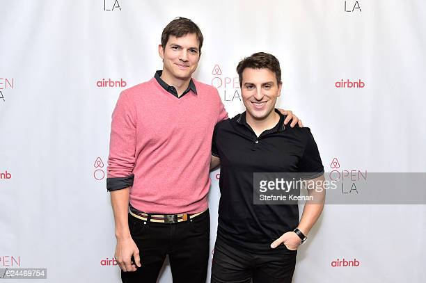 Actor Ashton Kutcher and CoFounder Chief Executive Officer Airbnb Brian Chesky attend The Game Plan Strategies for Entrepreneurs at The Orpheum...