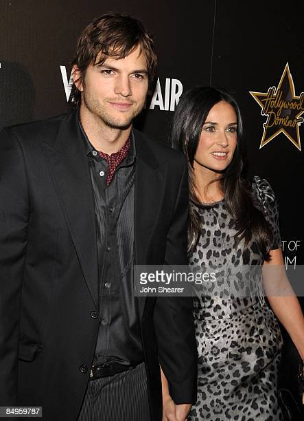Actor Ashton Kutcher and Demi Moore arrive at the Bally and Vanity Fair Hollywood Domino Game Night benefiting The Art of Elysium held at Andaz on...