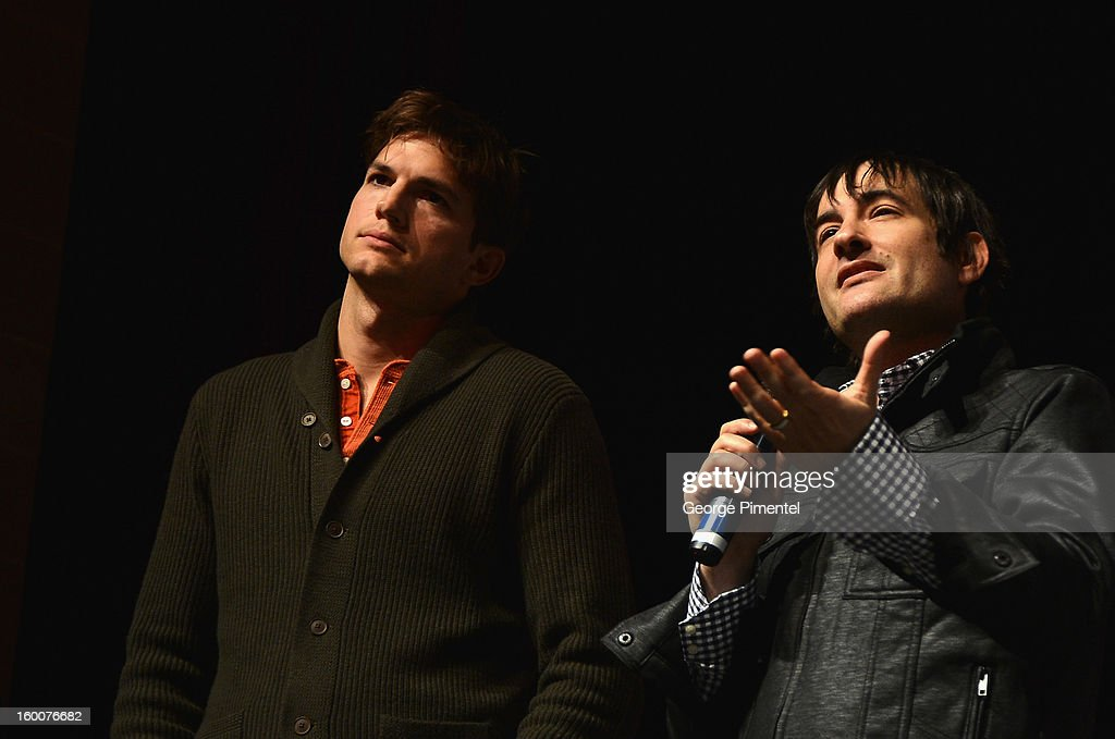 Actor Ashton Kutcher and director Joshua Michael Stern speak onstage at the 'jOBS' Premiere during the 2013 Sundance Film Festival at Eccles Center Theatre on January 25, 2013 in Park City, Utah.