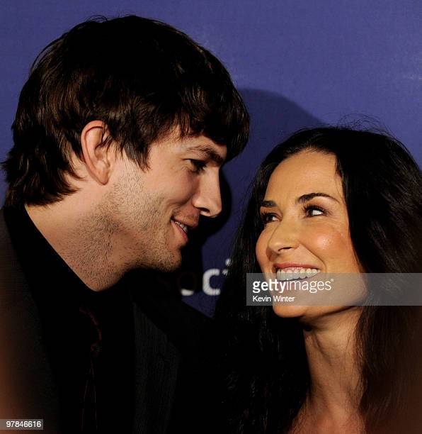 Actor Ashton Kutcher and his wife actress Demi Moore arrive at the 18th Annual 'A Night at Sardi's' to benefit Alzheimers Association at the Beverly...