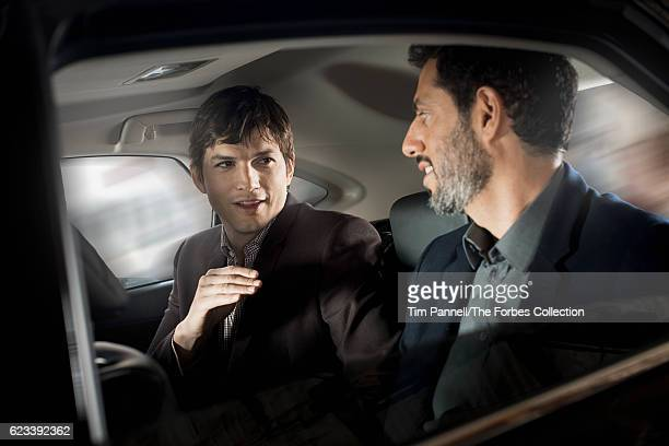Actor Ashton Kutcher and manager Guy Oseary are photographed for Forbes Magazine on March 1 2016 in Los Angeles California PUBLISHED IMAGE CREDIT...