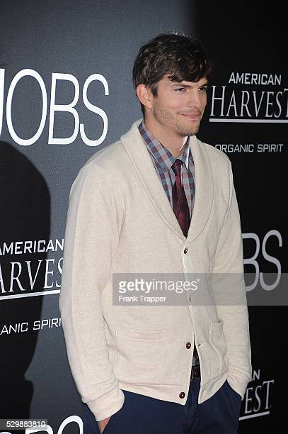 Actor Ashton Kutcher arrives at the premiere of Jobs held at Regal Cinemas L.A. Live.