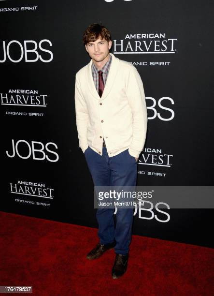 """Actor Ashton Kutcher arrives at the screening of Open Road Films and Five Star Feature Films' """"Jobs"""" at Regal Cinemas L.A. Live on August 13, 2013 in..."""