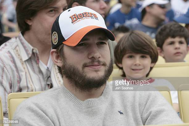 Actor Ashton Kutcher at the Los Angeles Dodgers and Los Angeles Angels of Anaheim game Sunday May 21 2006 at Dodger Stadium in Los Angeles California...