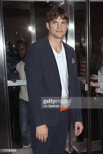 """Actor Ashton Kutcher attends """"Jobs"""" New York Premiere at MOMA on August 7, 2013 in New York City."""