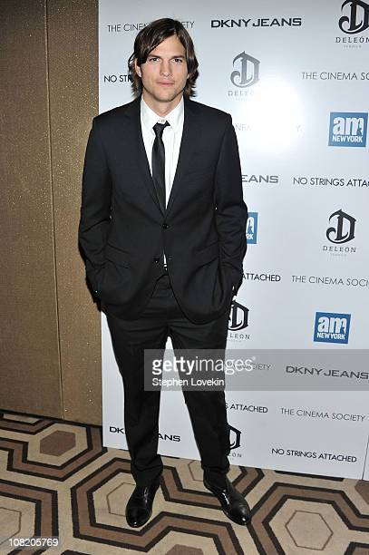 Actor Ashton Kutcher attends the Cinema Society with DKNY Jeans DeLeon Tequila screening of 'No Strings Attached' at the Tribeca Grand Hotel on...