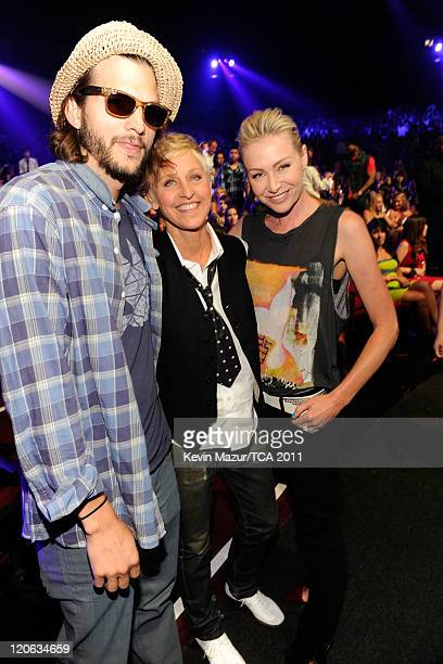 Actor Ashton Kutcher comedian/TV personality Ellen DeGeneres and actress Portia de Rossi attend the 2011 Teen Choice Awards at Gibson Universal...