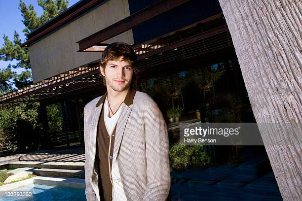 Actor Ashton Kutcher is photographed at home for Architectural Digest on October 19 2006 in Beverly Hills California