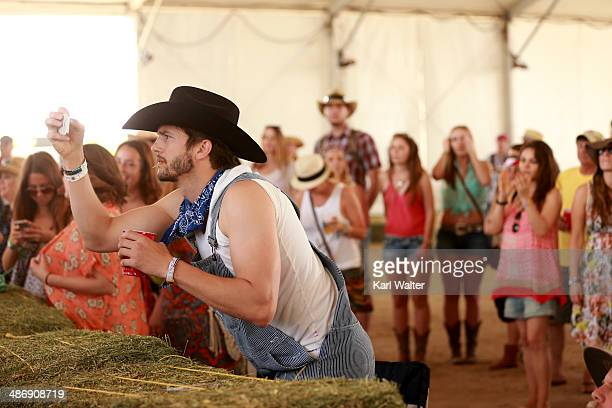 Actor Ashton Kutcher seen on day 2 of 2014 Stagecoach California's Country Music Festival at the Empire Polo Club on April 26 2014 in Indio California