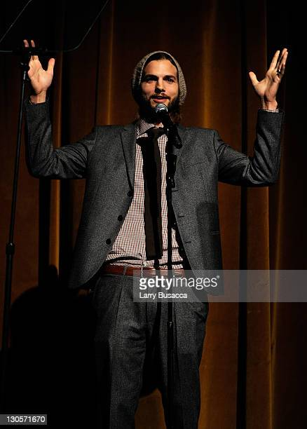 Actor Ashton Kutcher speaks onstage at the GQ's Gentlemen's Ball Presented By Gentleman Jack Land Rover Movado and Nautica at The Edison Ballroom on...