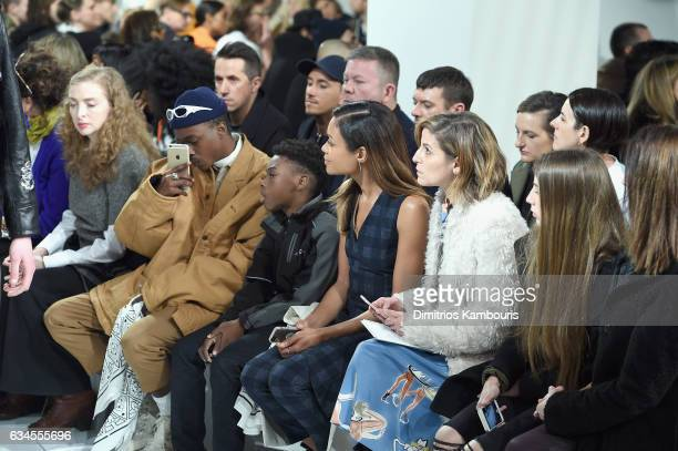 Actor Ashton Sander Naomie Harris and Cindy Levy attend the Calvin Klein Collection Front Row during New York Fashion Week on February 10 2017 in New...