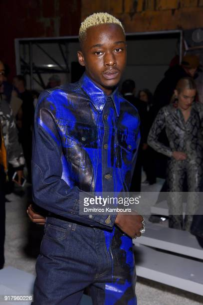 Actor Ashton Sanders attends the Calvin Klein Collection front row during New York Fashion Week at New York Stock Exchange on February 13 2018 in New...