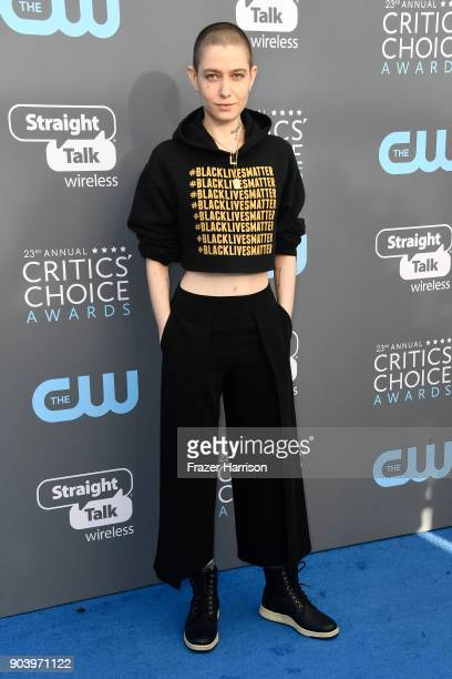 Actor Asia Kate Dillon attends The 23rd Annual Critics' Choice Awards at Barker Hangar on January 11 2018 in Santa Monica California