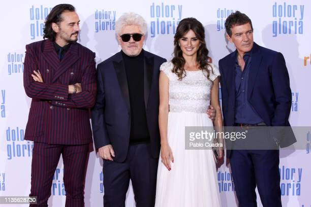 Actor Asier Etxeandia director Pedro Almodovar actress Penelope Cruz and actor Antonio Banderas attend the 'Dolor y Gloria' premiere at Capitol...