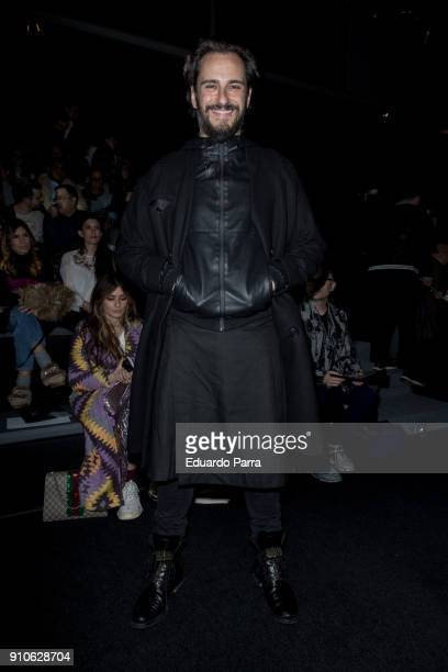 Actor Asier Etxeandia is seen at the Ana Locking show during MercedesBenz Fashion Week Madrid Autumn/ Winter 201819 at Ifema on January 26 2018 in...