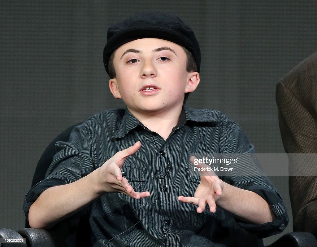 Actor Atticus Shaffer of 'the middle' speaks onstage during the ABC portion of the 2013 Winter TCA Tour at Langham Hotel on January 10, 2013 in Pasadena, California.