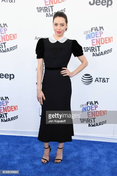 Actor Aubrey Plaza attends the 2018 Film Independent Spirit Awards on March 3 2018 in Santa Monica California