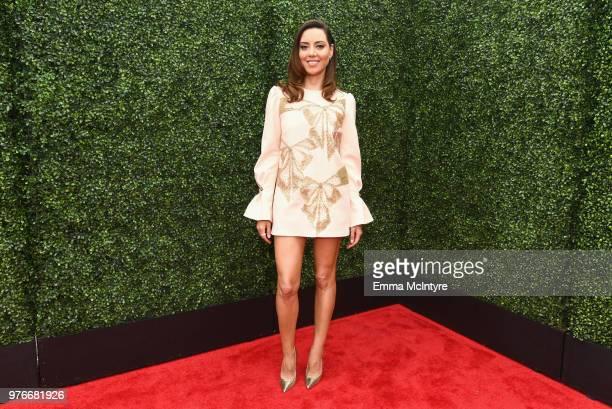 Actor Aubrey Plaza attends the 2018 MTV Movie And TV Awards at Barker Hangar on June 16 2018 in Santa Monica California