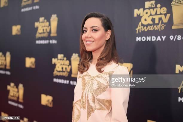 Actor Aubrey Plaza attends the 2018 MTV Movie And TV Awards at Barker Hangar on June 16, 2018 in Santa Monica, California.
