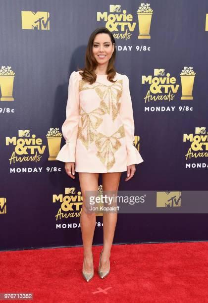 Actor Aubrey Plaza attends the 2018 MTV Movie And TV Awards at Barker Hangar on June 16 2018 in Santa Monica California