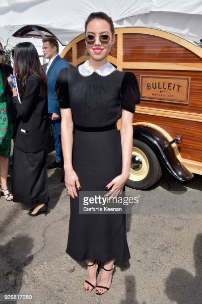 Actor Aubrey Plaza celebrated with a Bulleit cocktail at the Bulleit Frontier Works Whiskey Experience during the 2018 Film Independent Spirit Awards...