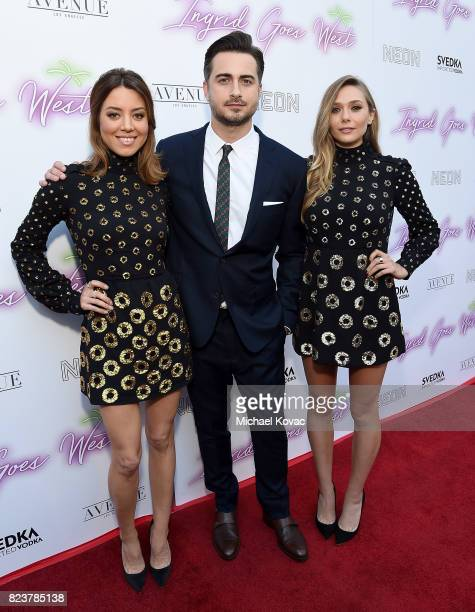 "Actor Aubrey Plaza, director Matt Spicer, and actor Elizabeth Olsen attend the Los Angeles Premiere of ""Ingrid Goes West"" presented by SVEDKA Vodka..."