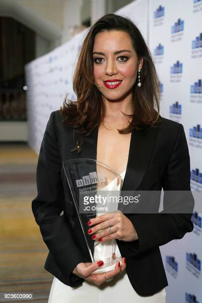 Actor Aubrey Plaza poses with the 'Outstanding Performance in a Motion Picture' award for the film 'Ingrid Goes West' during the 20th Annual National...