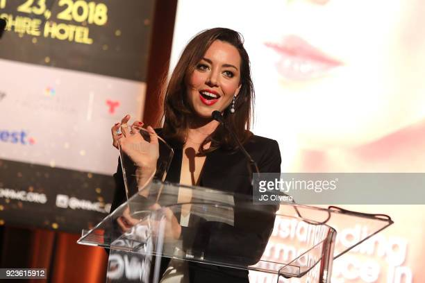 Actor Aubrey Plaza speaks onstage during the 20th Annual National Hispanic Media Coalition Impact Awards Gala at Regent Beverly Wilshire Hotel on...