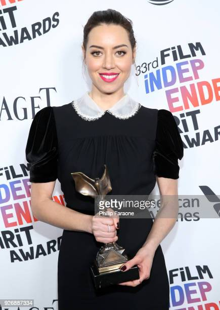 Actor Aubrey Plaza winner of Best First Feature for 'Ingrid Goes West' poses in the press room during the 2018 Film Independent Spirit Awards on...
