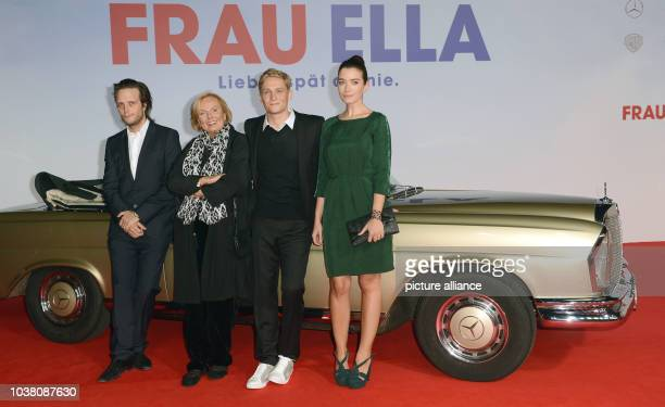 Actor August Diehl RuthMaria Kubitschek Matthias Schweighoefer and Anna Bederke arrive to the premiere of the movie 'Frau Ella' in Berlin Germany 08...