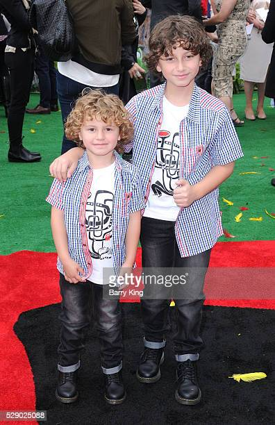 Actor August Maturo and brother attend the premiere of Sony Pictures' 'Angry Birds' at Regency Village Theatre on May 7 2016 in Westwood California