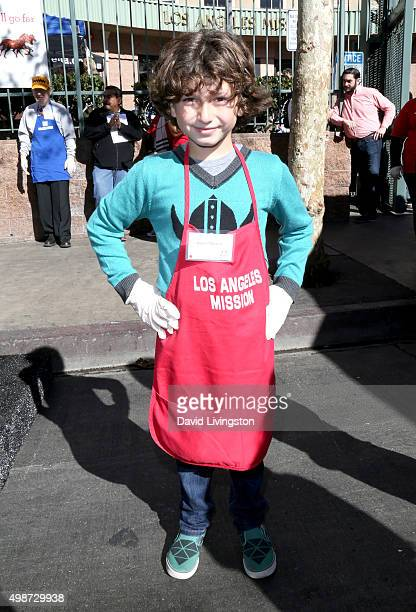 Actor August Maturo attends Thanksgiving for the Homeless at the Los Angeles Mission on November 25 2015 in Los Angeles California