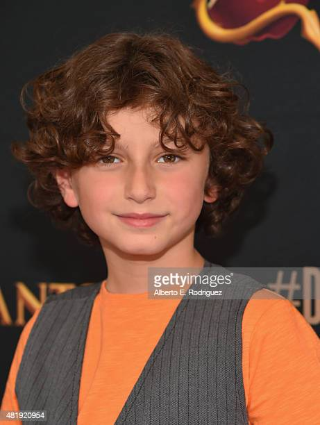 Actor August Maturo attends the premiere of Disney Channel's 'Descendants' at Walt Disney Studios on July 24 2015 in Burbank California