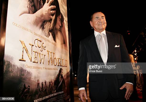 Actor August Schellenberg arrives at the New Line Cinema premiere of The New World presented by AFI held at the Academy of Motion Picture Arts and...