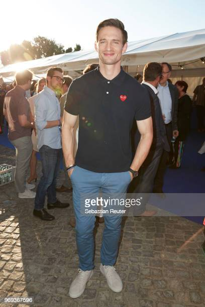 Actor August Wittgenstein attends the summer party 2018 of the German Producers Alliance on June 7 2018 in Berlin Germany