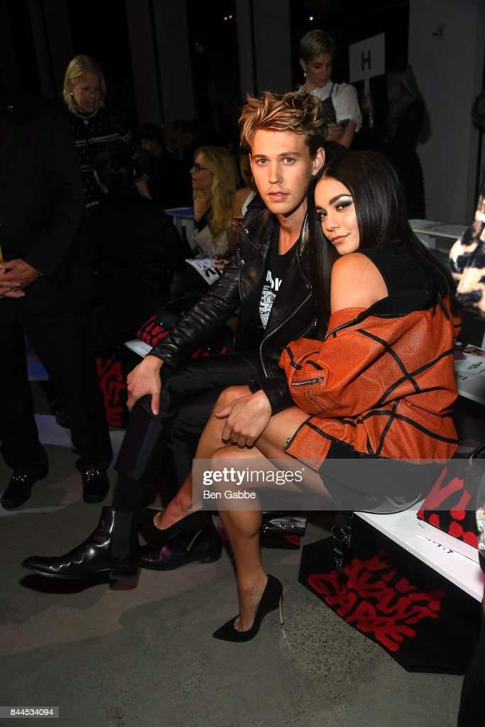 Actor Austin Butler (L) and actress Vanessa Hudgens attend the Jeremy Scott Fashion Show during New York Fashion Week at Spring Studios on September 8, 2017 in New York City.