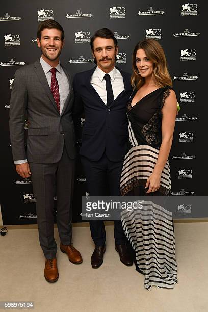 Actor Austin Stowell actress Ashley Greene and director James Franco pose in the JaegerLeCoultre lounge before attending the premiere of their movie...