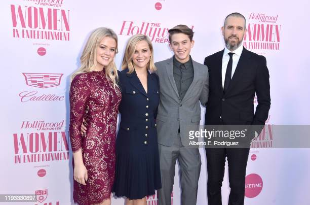 Actor Ava Phillippe, honoree Reese Witherspoon, Deacon Reese Phillippe, and talent agent at CAA Jim Toth attend The Hollywood Reporter's Power 100...
