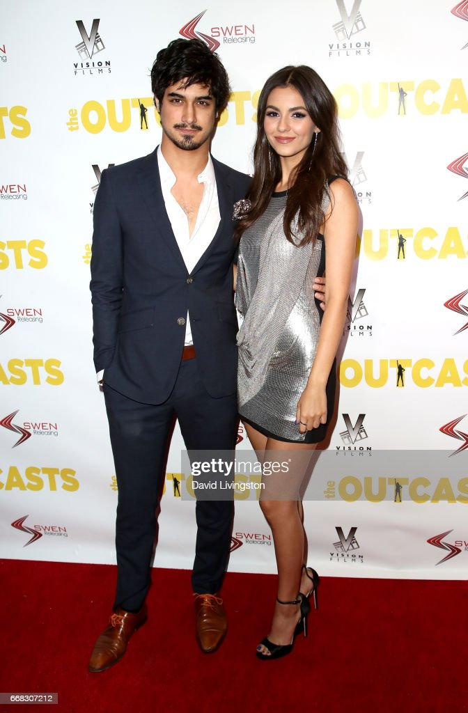 Actor Avan Jogia (L) and actress Victoria Justice attend the premiere of Swen Group's 'The Outcasts' at Landmark Regent on April 13, 2017 in Los Angeles, California.
