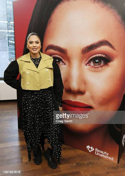Actor Ayesha Curry poses as CVS Pharmacy unveils new beauty aisles featuring Unaltered brand partner 2019 beauty campaigns on January 24 2019 in New...
