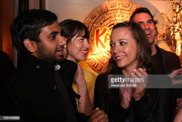 Actor Aziz Ansari actresses Aubrey Plaza and Rashida Jones attend the premiere of NBC's Parks Recreation hosted by Kahlua held at My House on April 9...