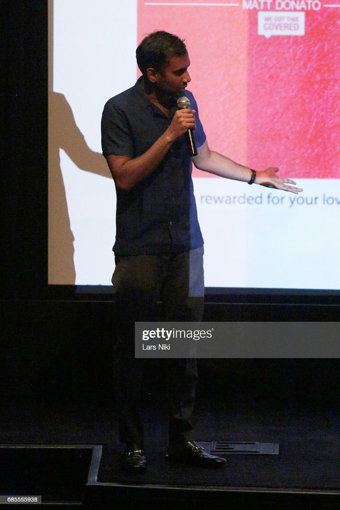 Actor Aziz Ansari addresses the audience during the Baby Driver NY Screening Hosted by Aziz Ansari at Crosby Street Hotel on May 19, 2017 in New York City.