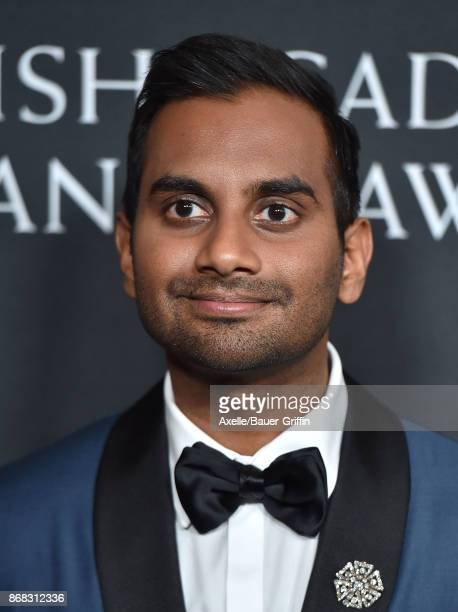 Actor Aziz Ansari arrives at the 2017 AMD British Academy Britannia Awards at The Beverly Hilton Hotel on October 27 2017 in Beverly Hills California