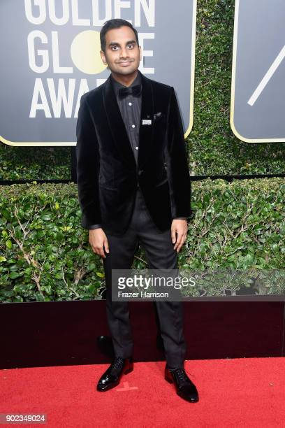 Actor Aziz Ansari attends The 75th Annual Golden Globe Awards at The Beverly Hilton Hotel on January 7 2018 in Beverly Hills California