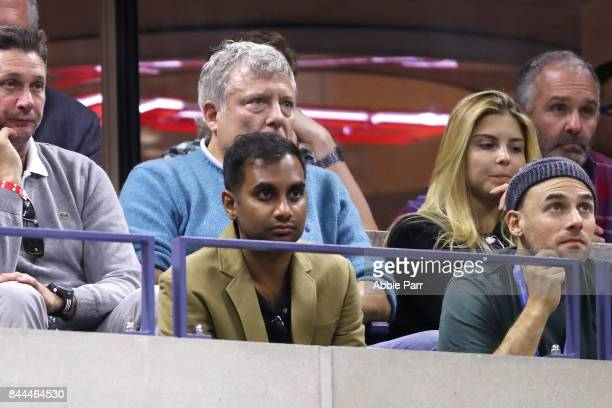 Actor Aziz Ansari looks on during the Men's Singles Semifinal match between Rafael Nadal of Spain and Juan Martin del Potro of Argentina on Day...