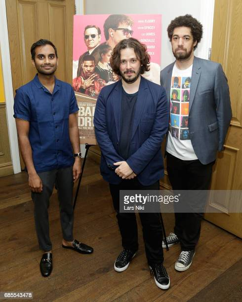 Actor Aziz Ansari Writer and Director Edgar Wright and Danger Mouse attend the Baby Driver NY Screening Hosted by Aziz Ansari at Crosby Street Hotel...