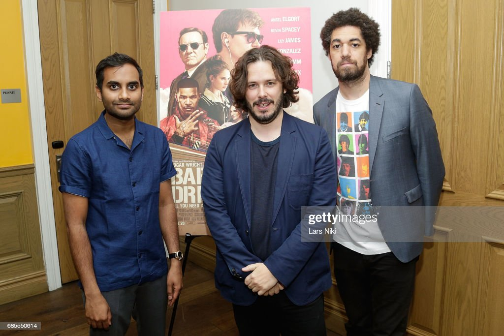 Actor Aziz Ansari, Writer and Director Edgar Wright and Danger Mouse attend the Baby Driver NY Screening Hosted by Aziz Ansari at Crosby Street Hotel on May 19, 2017 in New York City.