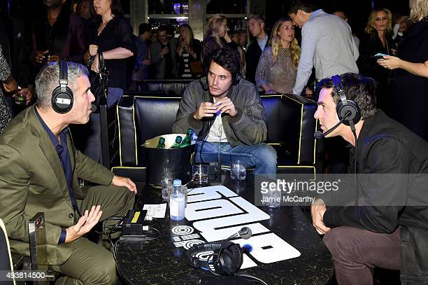 Actor B J Novak and musician John Mayer speak with Andy Cohen SiriusXM at the celebration launch of Cohen's New Exclusive SiriusXM Channel Radio Andy...
